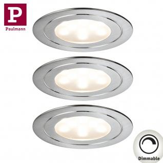 Paulmann Möbel Einbauleuchte Set Circuit LED rund 3x5, 6W 17, 5VA 230V/350mA 85mm Eisen gebürstet/Metall