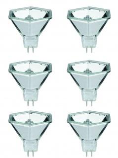 6x 832.23 Paulmann 12V Fassung Halogen Reflektor Hexagonal flood 60° 20W GU5, 3 12V 51mm Silber