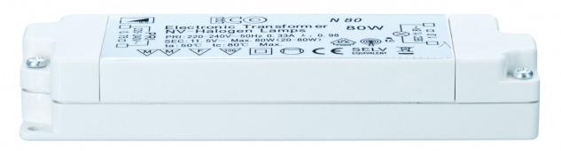 TIP ECO VDE Elektroniktrafo 20-80W 230/12V 80VA Weiß