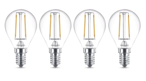 4x Philips 8718696517611 E14 LED Filament Leuchtmittel 2, 3W ~ 25W WW Warm Tropfen