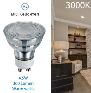 MILI GU10 4, 5W 6403 LED Leuchtmittel GU10 4, 5W 3000 Kelvin 100°Abstrahlwinkel warmweiss 360 Lumen