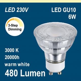 MILI 6402 LED Leuchtmittel GU10 6W 100°Abstrahlwinkel 3Step dimmbar warm weiss 480 Lumen 3 Helligkeit: 100/50/10%