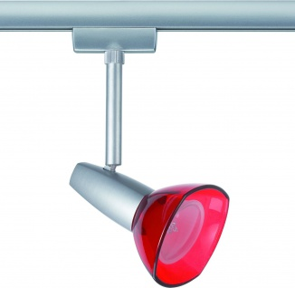 Paulmann 968.48 URail Light&Easy Spot Barelli 1x40W GZ10 Titan/Rot transparent 230V Metall/Glas