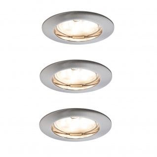 Paulmann Premium Einbauleuchte Set Coin klar rund starr LED 3x6, 8W 2700K 230V 51mm Eisen gebürstet/Alu Zink