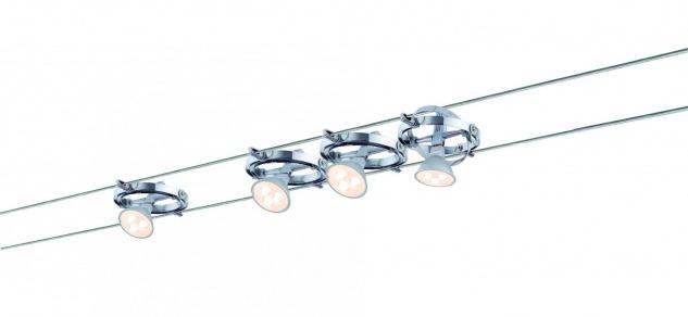 Wire System Cardan LED 4x4W GU5, 3 Chrom/Chrom matt 230/12V 80VA Metall