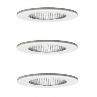 Paulmann 984.03 Möbel Einbauleuchte Set Schutzglas strukt. 3x20W 70VA 230/12V G4 66mm Weiß/Stahl/Glas