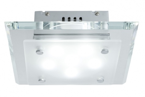 Paulmann 701.66 WallCeiling Galia WL 6x1W LED Chrom/Satin/Klar 230V Metall/Glas