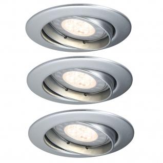 Paulmann Premium Einbauleuchte Set schwenkbar LED 3x3, 5W 2700K 230V GU10 51mm Chrom matt/Alu Zink - Vorschau 2
