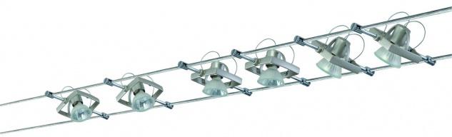 975.05 Paulmann Seil Komplett Set Wire System Mac II 210 6x35W GU5, 3 Nickel satiniert 230/12V 210VA Metall