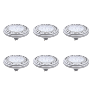 6er Set Qpar111 LED Leuchtmittel 12W GU10 3000K Warmweiss 230V 900lm Chrom matt