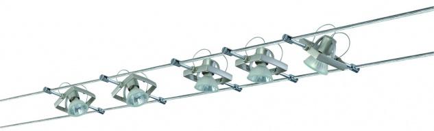 975.04 Paulmann Seil Komplett Set Wire System Mac II 105 5x20W GU5, 3 Nickel satiniert 230/12V 105VA Metall