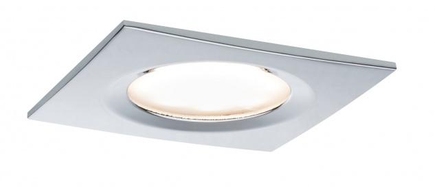 Paulmann Premium Einbauleuchte Set Coin Slim dimmbar eckig starr LED 1x6, 8W 2700K 230V 51mm Chrom/Alu