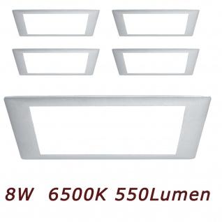 5er Set 926.11.5 Paulmann Einbauleuchten Premium EBL Panel eckig LED 1x8W 6500K 8VA 230V/350mA 210mm Alu geb./Alu