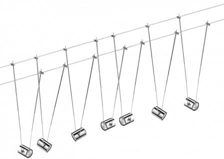 940.63 Paulmann Seil Komplett Set Wire System TeleComet II 7x20W GU4 Chrom 230/12V 150VA Metall