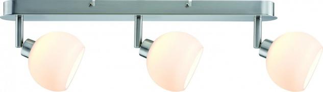 Paulmann 602.96 Spotlights Wolbi LED Balken 3x3W GZ10 230V Eisen gebürstet/Weiß Metall/Glas