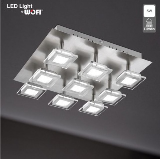 Wofi 9197.09.64.0000 Deckenleuchte Cholet 9 flg. LED 9 x 5 W 3.000 K 2.700 lm Nickel-matt