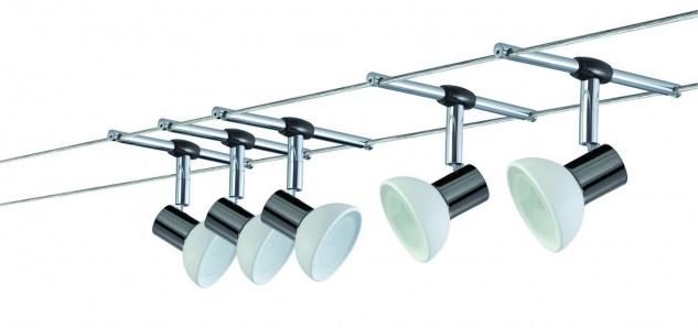 Paulmann Wire System Sheela 105 5x20W GU5, 3 Schwarzchrom/Opal 230/12V 105VA Metall/Glas