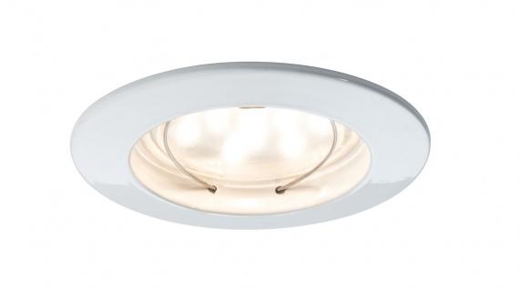 Paulmann 927.55 Premium Einbauleuchte Set Coin klar rund starr LED 3x6, 8W 2700K 230V 51mm Weiß matt/Alu Zink