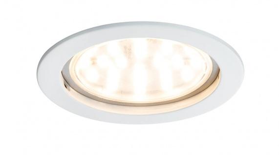 Paulmann 927.81 Prem Einbauleuchte Set Coin klar rund starr LED 1x14W 2700K 230V 75mm Weiß matt/Alu Zink