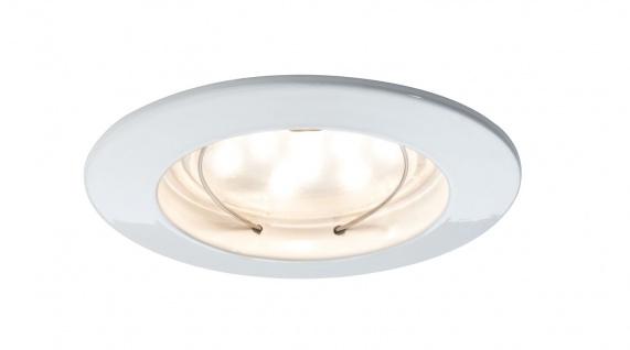 Paulmann 927.54 Premium Einbauleuchte Set Coin klar rund starr LED 1x6, 8W 2700K 230V 51mm Weiß matt/Alu Zink