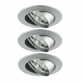 Paulmann Premium Einbauleuchte Set Power Flood LED 3x3W 10VA 230V 83mm Chrom matt/Alu Zink