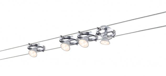 Paulmann Wire System Cardan LED 4x4W GU5, 3 Chrom/Chrom matt 230/12V 80VA Metall