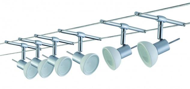 975.33 Paulmann Seil Komplett Set Wire System Sheela 210 6x35W GU5, 3 Chrom matt/Opal 230/12V 210VA Metall/Glas