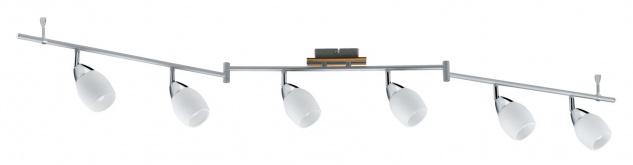 Paulmann Deckenleuchten 60075.LED Spotlights Wolba Stange 6x4W LED GU10 230V Chrom Holz/Glas