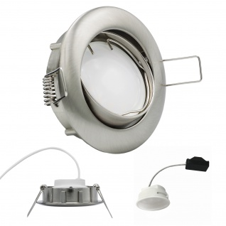 Einbauleuchte 5, 5W 3000K Warmweiss 230V 400lm Eisen gebürstet inkl. austauschbare LED Modul geringe Einbautiefe
