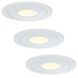 Paulmann 926.91 Premium Einbauleuchte Set Daz starr LED 3x5, 5W 30VA 230V/700mA 110mm Weiß m./Metall