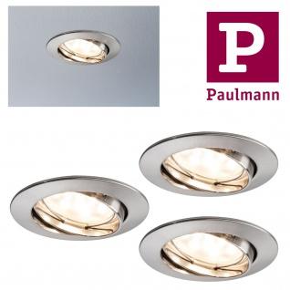 Paulmann Premium Einbauleuchte Set Coin dimmbar klar rund schwenkbar LED 3x7W 2700K 230V 51mm Eisen gebürstet/Alu Zink