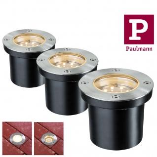 Paulmann 937.89 Special Einbauleuchte Set Boden rund LED 3x1, 2W 2700K 6VA 230/12V 98mm Edelstahl/Metall