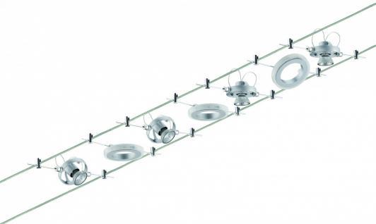 940.70 Paulmann Seil Komplett Set Wire System HaloLED 4x20W+3x1, 5W GU4 Chrom matt 230/12V 105VA Metall