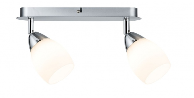 Paulmann 602.65 Spotlights WolbaLED Balken 2x3W GU10 230V Chrom matt Metall/Glas