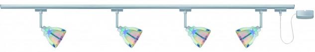 URail System Set Dichroic 4x40W GZ10 Chrom matt/Dichroic 230V Metall/Glas