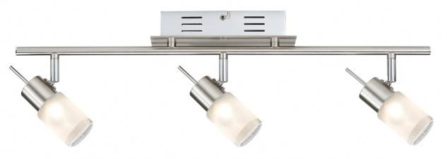 Paulmann 665.60 Spotlights ZyLed Balken 3x3W Eisen gebürstet 230V/12V Metall/Glas