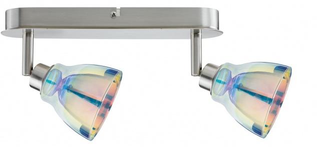 Paulmann 602.16 Spotlights Wolbi Balken 2x9W GZ10 Eisen gebürstet/Dichroic 230V Metall/Glas