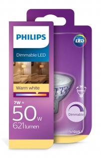 Philips 8718696815526 Reflektor mit Stecksockel 621Lumen dimmbar 7W (50W), GU5, 3, Warmweiß, Spot