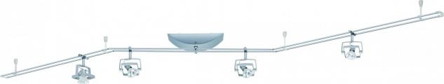 976.26 Paulmann 12V Rail Set Rail System Mac² 150 4x35W GU5, 3 Chrom matt 230V/12V 150VA Metall/Plastik