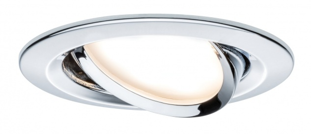 Paulmann Premium Einbauleuchte Set Coin Slim dimmbar rund schwenkbar LED 1x6, 8W 2700K 230V 51mm Chrom/Alu