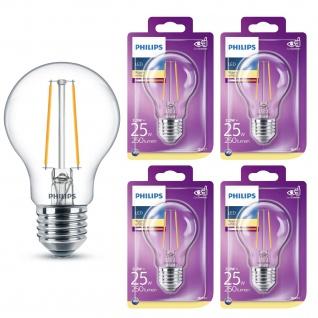 4er Pack LED Leuchtmittel 8718699648909 Philips Glühlampe Filament 2, 2W entspricht 25W 250 Lumen E27 warmweiß nicht dimmbar