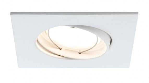Paulmann Premium Einbauleuchte Set Coin dimmbar satiniert eckig schwenkbar LED 3x7W 2700K 230V 51mm Weiß matt/Alu Zink