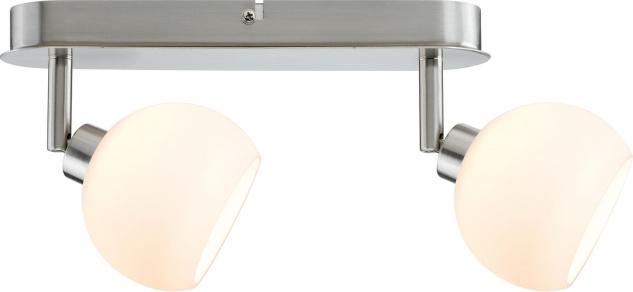 Paulmann 602.95 Spotlights Wolbi LED Balken 2x3W GZ10 230V Eisen gebürstet/Weiß Metall/Glas