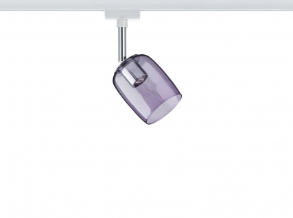 URail System Spot Blossom max. 1x10W G9 Weiß/Lila transparent 230V Metall/Glas