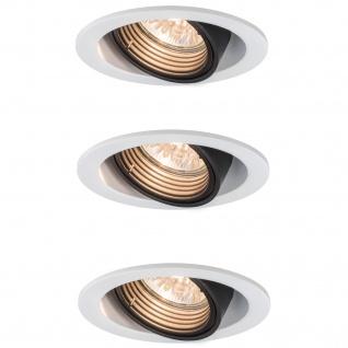 3x Paulmann Premium Einbauleuchte Daz rund schwenkbar 5W LED 230V GU10 Weiß m./Schw. 926.81.3.LED4000K
