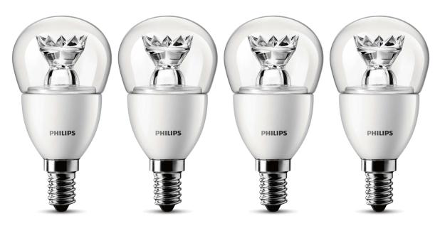 Philips LED-Lampe 4-er Set 8718291743439 ersetzt 25 W, E14-Sockel, 2700 Kelvin, 4 Watt, 250 Lumen, warmweiß