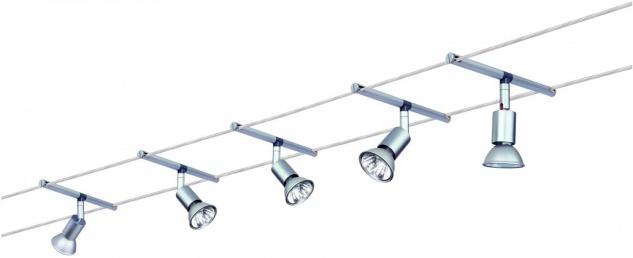 972.51 Paulmann Seil Komplett Set Wire System Spice Salt 105 5x20W GU5, 3 Chrom matt/Alu 230/12V 105VA Metall