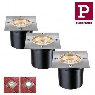 Paulmann 937.87 Special Einbauleuchte Set Boden eckig LED 3x1, 2W 2700K 6VA 230/12V 100mm Edelstahl/Metall