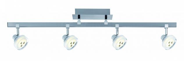 601.97 Paulmann Deckenleuchten Spotlight Gloria LED Stange 4x5W Nickel gebürstet 230/12V Metall/Glas