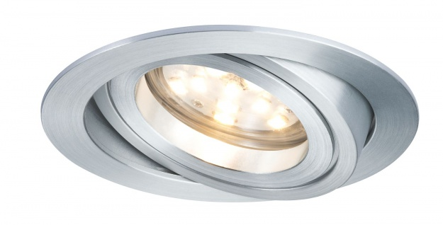 Paulmann Premium Einbauleuchte Set Coin dimmbar klar rund schwenkbar LED 1x7W 2700K 230V 51mm Alu Zink gedreht
